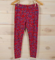 LulaRoe OS Leggings One Size (Fits 2-10) Soft Pants Red with Blue White Dots