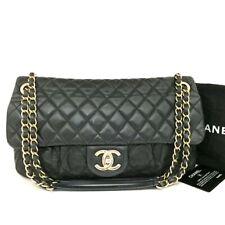 CHANEL Quilted Matelasse CC Logo Leather Chain Shoulder Bag Black /u256