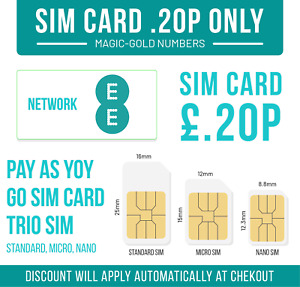 EE SIM CARD - NEW STANDARD MICRO NANO GET 8GB UNLIMITED CALLS SMS ONLY £0.20P,