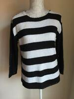 Zara Womens Black and White Striped Sequinned Jumper Size 10 (65)