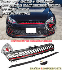 GTI-Style Badgeless Front Mesh Grill w/ Red Strip Fits 15-17 VW Golf 7 GTI MK7