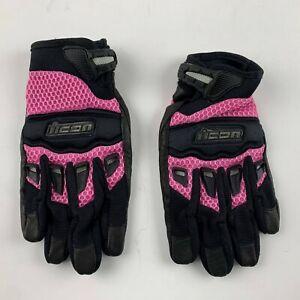 NEW Icon Twenty-Niner 29er Women M Pink Leather Motorcycle Gloves Biker Casual