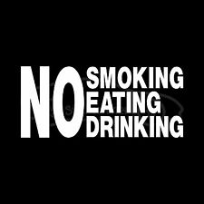 NO SMOKING EATING DRINKING Sticker Taxi Cab Window Viny
