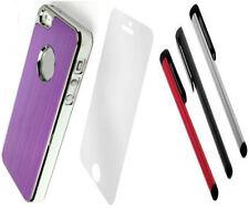 LUXURY PURPLE  Brushed ALUMINIUM CHROME Case Cover For iPhone 5 5S SE + SCREEN