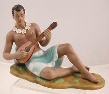 Gill Porcelain Retro Hawaiian Hula Statue Boy with Ukulele Blue Boy