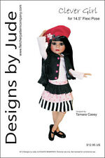 "Clever Girl Doll Clothes Sewing Pattern for 14.5"" Flexi Pose Dolls Tonner"