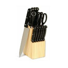 KITCHEN TRIVOLI CUTLERY KNIFE KNIVES SET WITH WOOD BLOCK RIVETED HANDLES NEW