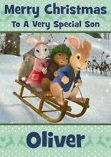 personalised Christmas card Peter The Rabbit any name/relation.