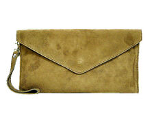 Taupe Beige Wedding Clutch Bag Evening Bag Oversize Envelope Suede Made in Italy
