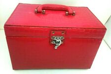 Vintage Red reptile faux leather makeup Cosmetics travel train case RARE Nice