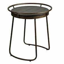 Distressed Copper Rustic Round Accent Table   Tray Top Wood Open
