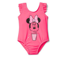 BABY GAP GIRL DISNEY MINNIE SWIMSUIT 2 YEARS ONE RUFFLE PRINT SWIMSUIT PINK