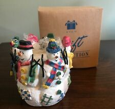 Avon - Snowy Folks Candle Holder w/ Box - Gift collection - 1998