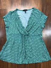 Daisy Fuentes Sz PM Womens Petites Green White Babydoll Top Short Sleeve Rayon