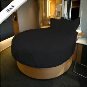 "Black Solid Round Bedsheet Set 15"" Deep Pocket All US Diameter Mattress"