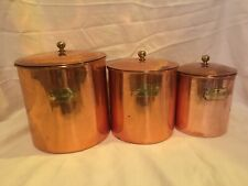 Vintage Copper Kitchen Nesting Canister Set (3) Flour Sugar Coffee Brass Handles