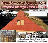 Doctor Ben's Scale Model Corrugated Roofing/Siding HO 8pcs - Metalic Composite