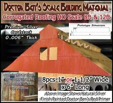 Doctor Ben's Scale Model Corrugated Roofing/Siding HO 8pcs-Metalic Composite
