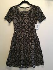 LuLaRoe Noir Black Grey White Christmas Damask Amelia Dress XS NWT Rare