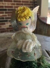 Vintage 1950s Christmas Tree Topper ANGEL Figure Chenille Hair,Glittered Netting