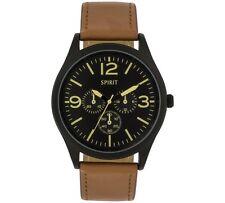 Spirit Men's Brown Strap Multi Dial Watch.