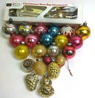 22 Mercury Glass Christmas Tree Ornaments Sears Tree Topper Mid Century USA Lot