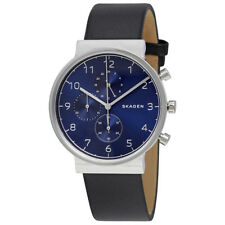 Skagen Ancher Blue Dial Black Leather Mens Watch SKW6417