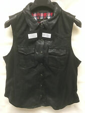 Muubaa Women's Short Sleeve Waistcoat Leather Jacket. RRP £299. UK 16. M2464.