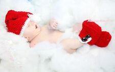 XMAS Party Crochet Santa Claus Hat Shoes Newborn Baby Photo Prop Costume NB-6M