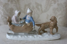 Vintage Meico Hand Crafted Kids in Dog Drawn Sled Figurine by Paul Sebastian