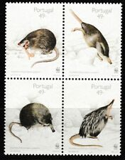 WWF Iberian Muskrat mnh block of 4 stamps 1997 Portugal #2153-6