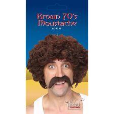 1970's Style Brown Tash Fake Moustache Tache for Fancy Dress