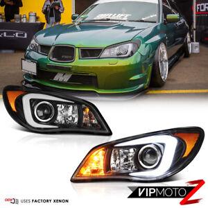 """LATEST OLED TUBE"" Black Headlights {D2S Factory Xenon} For 06 07 Subaru WRX STI"