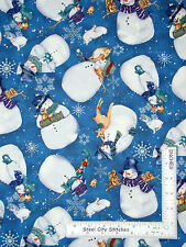 Christmas Fabric - Snowman Animals Deer Fox Creature Comforts Clothworks - Yard