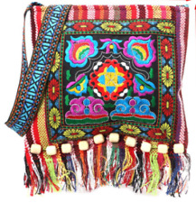 New Vintage Style Embroidered With Fringe Cross Body Shoulder Bag