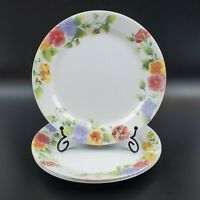 "Set of 4 VTG Corelle Summer Blush Dinner Plates 10 1/4"" Gorgeous Floral Pansies"