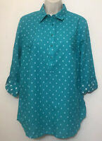NWT Tommy Hilfiger Small Relaxed Fit Top Teal Green Long Sleeve Collared Cotton