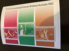 1982 AUSTRALIA XII COMMONWEALTH GAMES BRISBANE MINI SHEET 3x STAMPS MNH