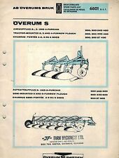 OVERUM S 200 300 400 PLOWS PARTS  MANUAL 6801