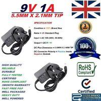 UK MAINS 9V 1A AC/DC 100-240V AC 50/60Hz POWER SUPPLY ADAPTER MODEL KDL-091000