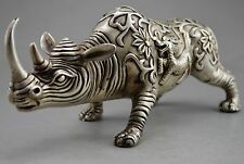 """10"""" Old Chinese Fengshui Silver copper Beast The rhino Rhinoceros Statue+a"""
