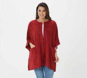 Cuddl Duds Fleecewear Stretch Open Front Wrap (Deep Red, One Size) A381797