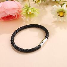 1Pcs Unisex Men's Genuine Braided Leather Steel Magnetic Clasp Bracelet