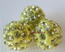 Polymer Clay Crystal Shamballa Beads Zardenia 3pcs Yellow Shambala Beads