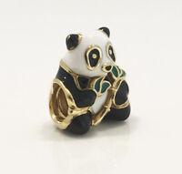 Genuine Pandora Panda Bear Silver Charm 18K Gold Plated over Rhodium 796256ENMX