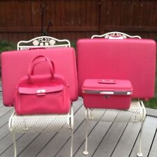 Vintage Bright Pink Samsonite Luggage suitcase Set 4 Pc. Train case Travel Tote
