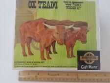 NOS Sealed Box Vintage Craft Master Wagon Master Carve Wood Ox Team Model Kit