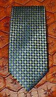 CLUB ROOM BY CHARTER CLUB Navy Blue Green Geometric Foulard 100% Silk Neck Tie