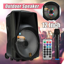 "Portable Bluetooth Pro 12"" Party DJ Karaoke PA Speaker with Microphone Remote"