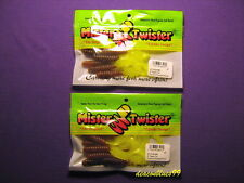"Lot of 2 - Mister Twister 4"" Curly Tail Grubs - Carolina Pumpkin / Chartreuse"